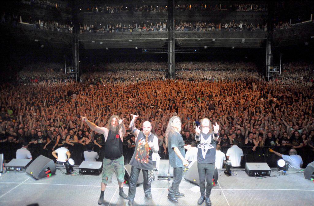 Slayer Final World Tour @ Van Andel Arena, Grand Rapids, MI, August 7, 2018 L-R: Paul Bostaph, Kerry King, Tom Araya, Gary Holt