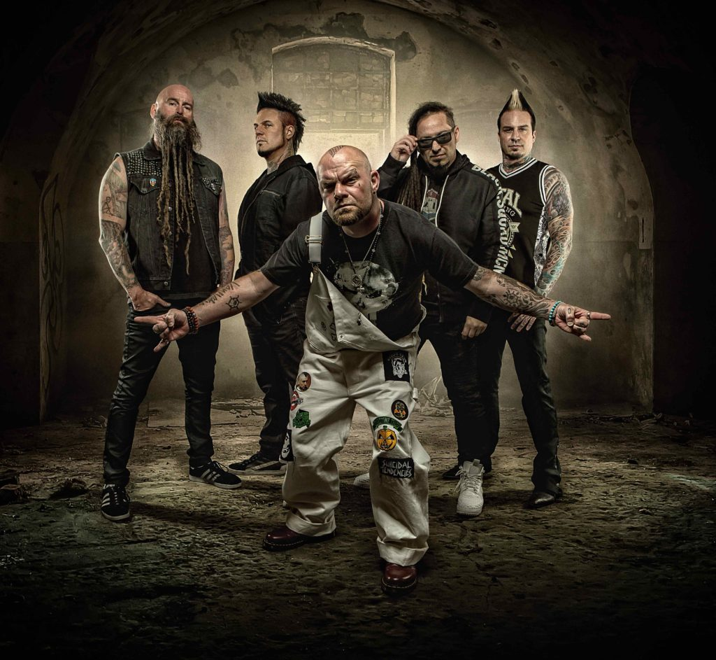 FIVE FINGER DEATH PUNCH (L-R): Chris Kael (bass), Jason Hook (guitar), Ivan Moody (vocals), Zoltan Bathory (guitar), Jeremy Spencer (drums).