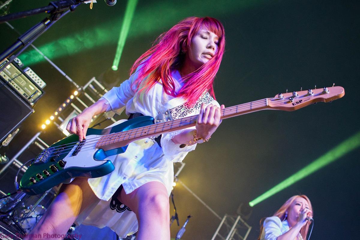 Lovebites' Miho on stage at Download 2019